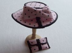 Handmade 1/12 scale dollshouse pink/black polka hat and bag. $20.00, via Etsy.