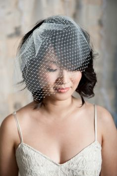 double layer birdcage veil by tessa kim