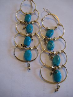 Mexican Turquoise and gold bicone long dangle drop by 3tomatoes, $140.00