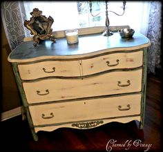 vintage curvy shabby french dresser wearing Chalk Paint® decorative paint by Annie Sloan (Duck Egg Blue, Old White and Graphite)
