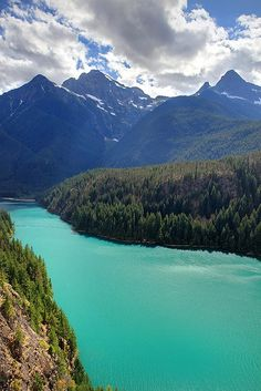 Turquoise water of Diablo Lake in the North Cascades National Park, Washington