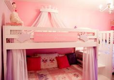 Fairy Princess Bunk Beds Girls Room-curtains on bottom - in black and white