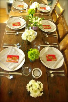 Cute idea to have lucky envelopes at each place setting.