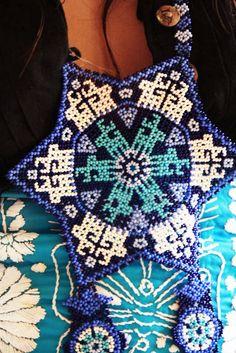 Huichol unique ethnic jewels necklace Mexican beaded Amazing Blue Deer  mandala