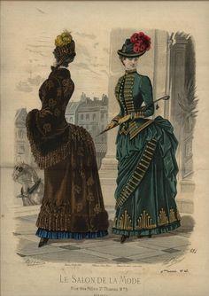 I adore the braid on the green dress. Le Salon de la Mode 1884