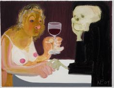 Nicole Eisenman  Death and Maiden  2009  OIl on canvas  14.25 x 18 inches