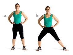 Inner Thigh Slide - Stand with feet shoulder width apart and place a small towel under your left foot, hands on hips (a). Squat down by bending your right knee as you simultaneously slide your left foot out to the side, keeping left leg straight (b). Pause and slowly return to starting position. Repeat for 12 to 15 reps and then switch legs; perform 2 to 3 sets.