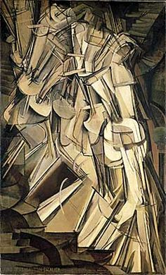 Nude Descending a Staircase, No.2 by Marcel Duchamp, a prominent French Modernist and art advisor to collectors like Peggy Guggenheim. Duchamp's work is associated with Dadaism and Surrealism, but is also known as Futurism. Here in this piece you can see his attempt to portray movement of his subject. His work also links to Picasso's Cubist ideals.