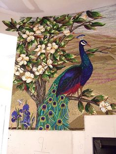 Peacock nearing completion - 7/1/09 by Plum Art Mosaics, via Flickr