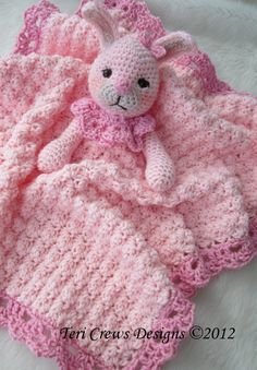 "Crochet Pattern Bunny Huggy Blanket by Teri Crews by WoolandWhims, $4.95...I think every baby girl needs a ""woobie"""
