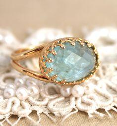 Mint Aquamarine gemstone Ring   14k gold filled Aqua by iloniti, $85.00
