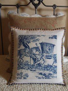 beautiful toile pillow via homemakeraccents.blogspot.com