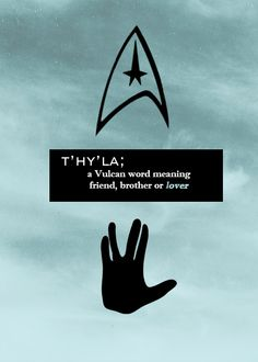 T'hy'la: a Vulcan word meaning friend, brother or lover.