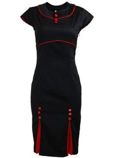 Black Kick Pleat Double Button Red Trim Pinup 1950s Rockabilly Pencil Dress