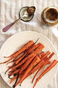 roasted maple mustard carrots