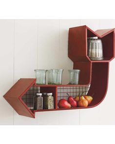 Display your favorite things on this rusitc wall shelf. Get it here: http://www.bhg.com/shop/vivaterra-retro-arrow-shelf-p5098e8c0e4b042c857cdbf3a.html