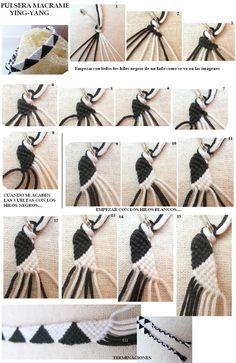 1**********DIY Ying Yang Bracciale making bracelets, tutorials, craft, macrame bracelets, triangles, diy bracelet, friendship bracelet patterns, friendship bracelets, diy projects