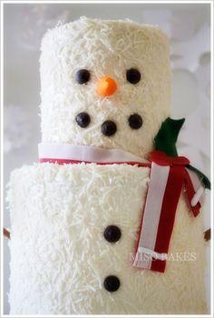 adorable snowman cake