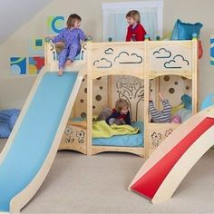 Slide Out of Bed: Slide out of the clouds from a bunk bed fantasy that would make any little kid giddy. Playful, nature-inspired designs embellish the bed's high safety rails 10 Bunk Beds Well Worth the Climb