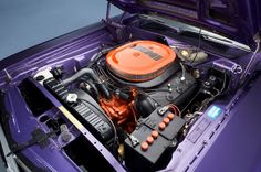 The 1971 Plum Crazy 426 Hemi Challenger is #24 of the 58 original pistol-grip 4 speed Hemi Challengers built in 71 making this Galen Govier documented car extremely rare.