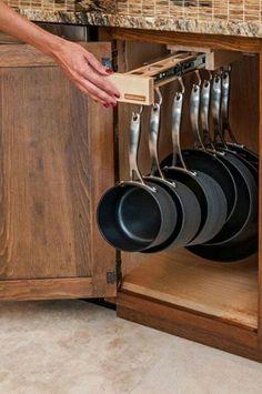 kitchen organization, pot racks, cupboard, organized kitchen, kitchen storage