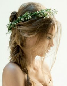 Top Ten Ways to Wear Flowers in Your Hair - delicate flower wreath, baby's breath crown and summer roses braided in... my faves.