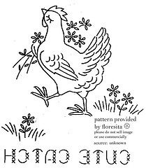 Chicken Romance embroidery motif