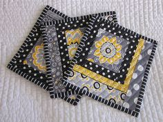 Mug Rug/Quilted Coaster--Black, Gray and Yellow