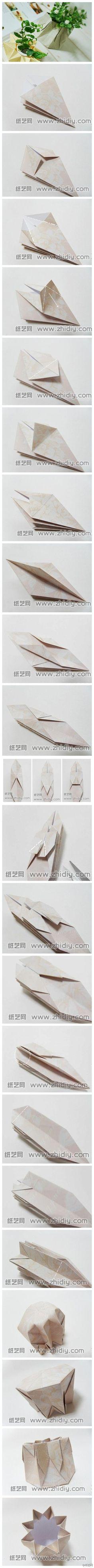 Origami 8 Points Star Vase