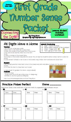 FREEBIE in the Preview!  Number Sense Packet  - Great review, sub plans, or introduction - Lessons, hands-on, class sheets, and homework