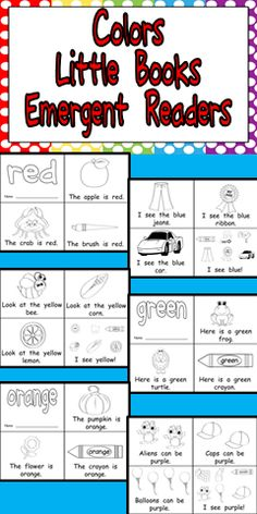 Colors Emergent Reader Little Books- Preschool or Kindergarten *** This packet has 6 printable emergent reader little books, one for each of the following colors: red, yellow, blue, green, purple, and orange. $