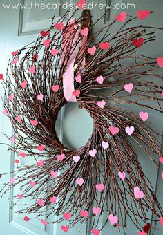 Valentine's Heart Willow Wreath tutorial on thecardswedrew.com