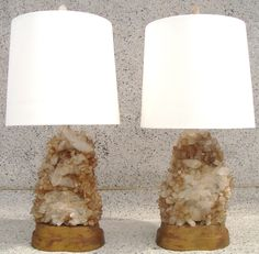 Monumental Pair of 1940's Carole Stupell Rock Crystal Lamps
