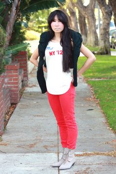 honored to be the first blogger in frederick's of hollywood guest blogger series. wearing frederick's red jeans.