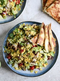 Chopped Chicken Taco Salads with Cheese Quesadilla Strips | howsweeteats.com