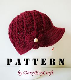 Symbol Crochet PATTERN and Colorful step by step images - PDF format - Crochet Hat - Twirl Cap