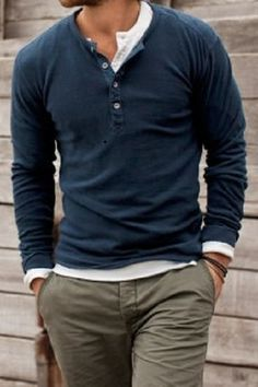 Layered henleys. You say you don't like this collar but I think it looks great, esp layered like in this pic.
