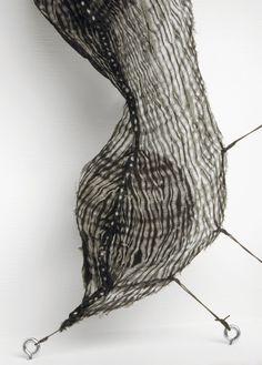 Mo Kelman | Bini, 2011 | shibori dyed and shaped silk, black walnut hulls