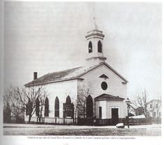 Church built by Louis Campau in 1837, now the site of the police dept at Monroe Ctr & Ottawa - photo from 1860s?