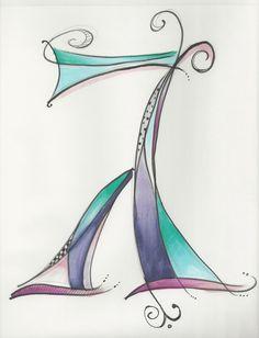 Dabbling in whimsical Hebrew letters. Hebrew Gimmel by Allison Carter