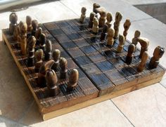 Handmade upcycled chess by ReNature on Etsy, $35.00