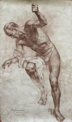 """Model as a horseman with a spear"" - Audrey Kartashov, male figure drawing"