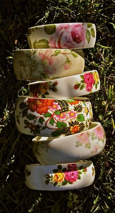 Vintage China Teacup Bangles. Super cool.