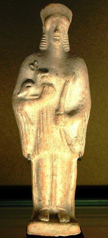 Artemis with a fawn and the bow; from Thespiae, Boeotia, ca 500 BC; now in the Louvre.