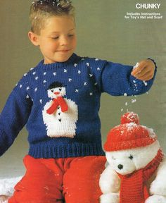 Snowman Sweater Toy Hat Vintage Christmas Knitting Pattern an Original Pattern from1988