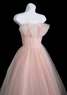 Vintage 50's Pink Tulle Formal Prom Ball Dress Gown