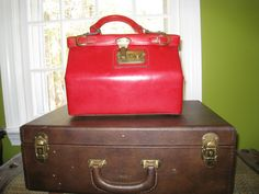 Red Leather 1950 Doctor Handbag with Lock and Key
