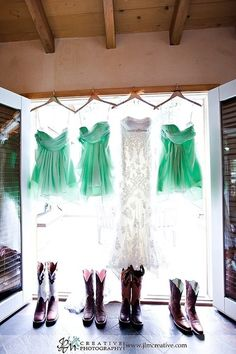 Mint Green Bridesmaid Dresses with Cowboy Boots @Jessica Lynn, @Sara Barthelme-Hovden, @Alexis, @Nicole Marie