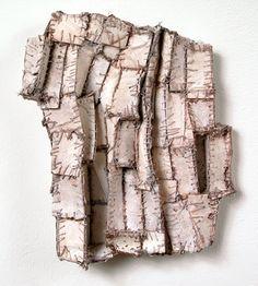 Elisa D'Arrigo  White Shadows (2), 2009  paper, cloth, thread, acrylic paint  9 x 7 x 1 inches