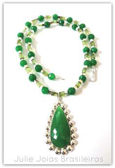 Colar em prata 950, peridoto e amazonita (950 silver necklace with peridot and amazonite)